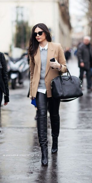 camel short blazer jacket with gray sweater and leather leggings