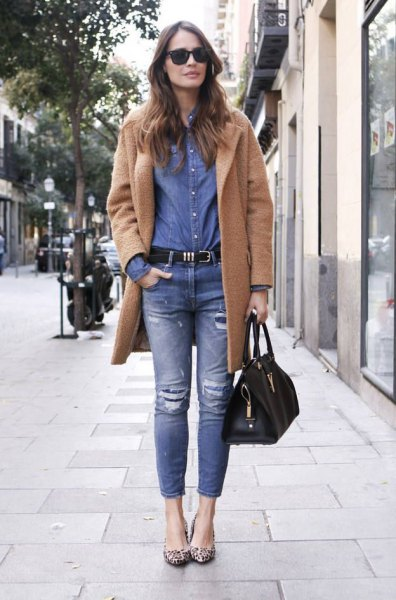 camel fleece jacket with blue comrade shirt and jeans