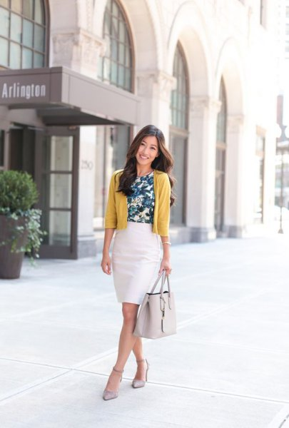 mustard yellow cardigan with white pencil skirt