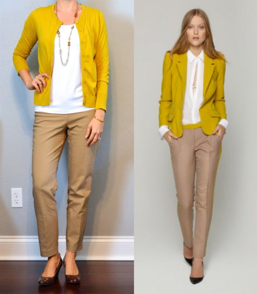 mustard sweater cardigan with white blouse and beige chinos