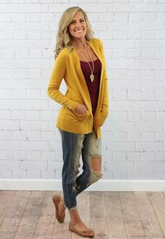 mustard yellow relaxed cardigan with gray tank top in scoop