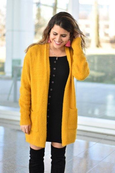 mustard-long cardigan with black mini dress