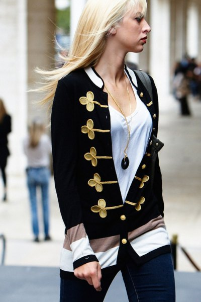 white bucket neck tee with black and gold sweet cardigan