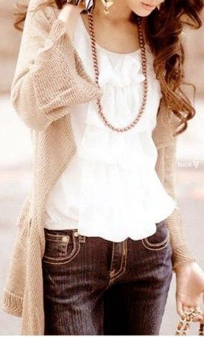 long-sleeved jacket with white ruffled blouse
