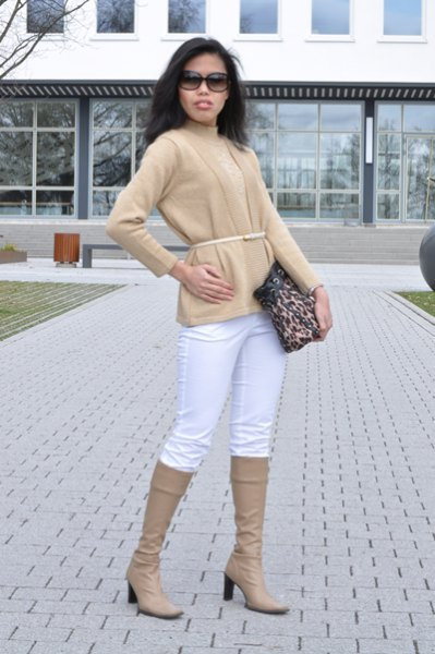 crepe-belted cardigan with matching knee-high boots and white jeans