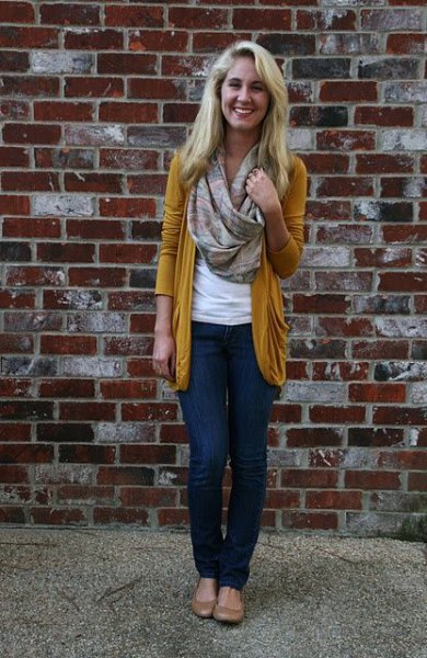 gold cardigan with pink pink infinity scarf