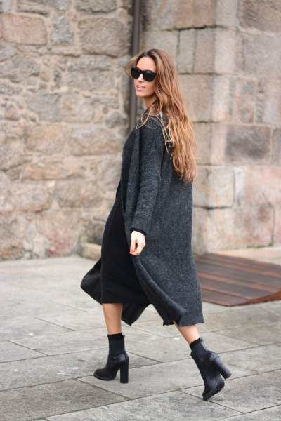 gray maxi knitted cardigan with black midi shift tank dress
