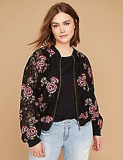 black floral printed sports jacket with light blue boyfriend jeans
