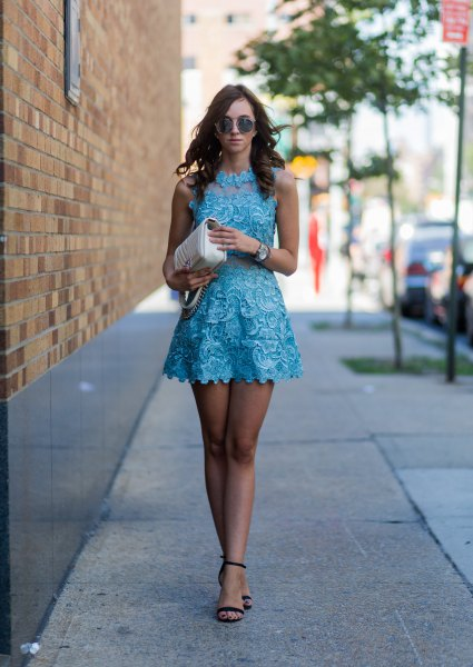 fits a flare mock neck mini lace dress with black heels with open toe