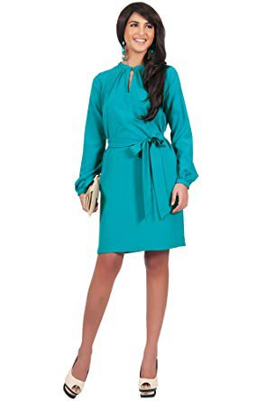 long sleeve keyhole belt knee length dress