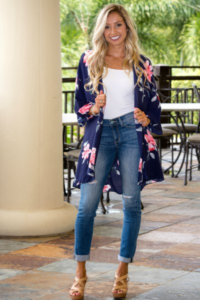 navy blue long-line kimono cardigan with white top with bucket neck vest