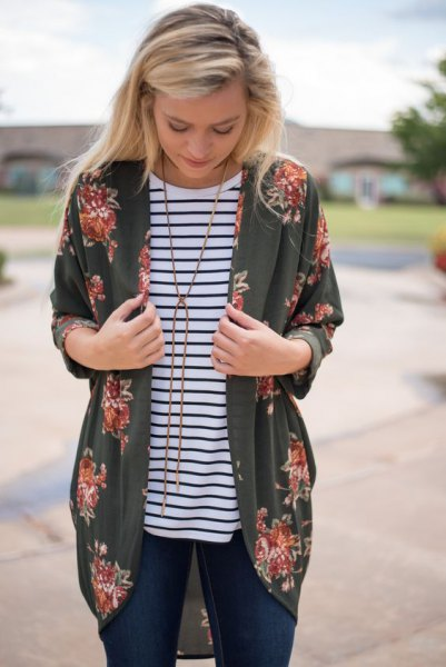 green kimono jacket with black and white horizontal striped tee