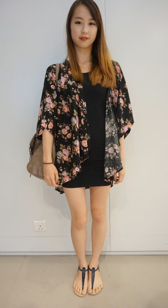 black kimono shirt with mini shift dress