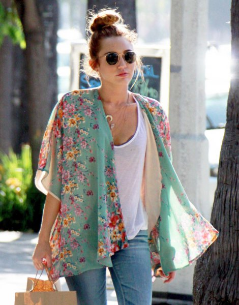 blush pink floral printed chiffon kimono cardigan and white top