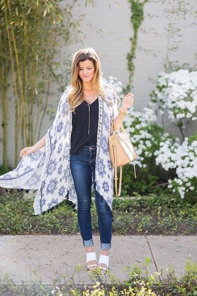 white and blue stem printed chiffon long kimono cardigan