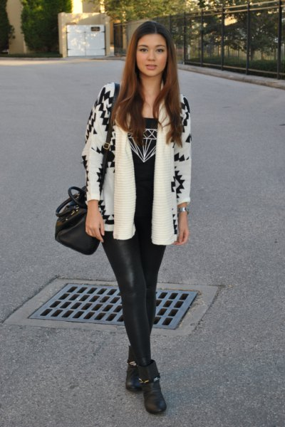 white and black printed blazer with leather legs