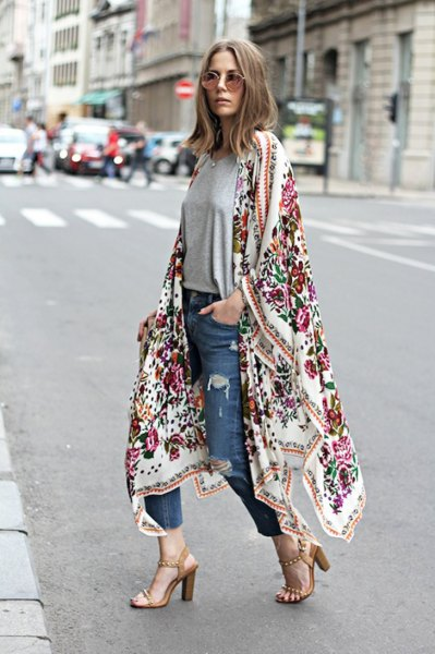 white maxi floral printed maxi cardigan with blue slim fit cropped jeans