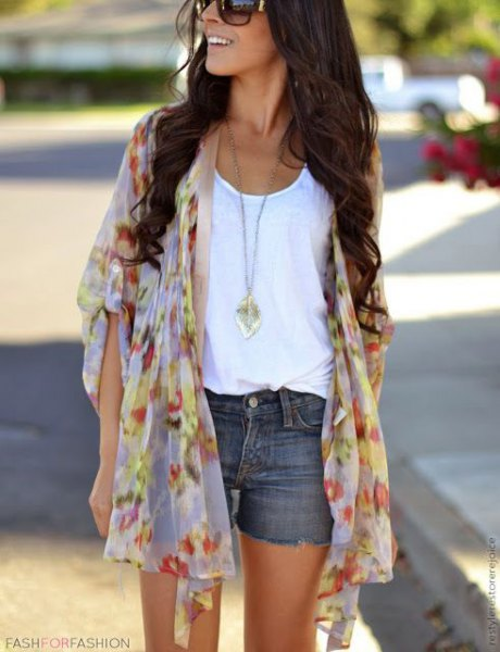 light blue and pink pink chiffon cardigan with mini gray denim shorts