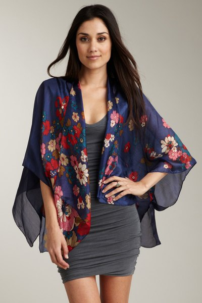 navy floral printed chiffon cardigan with gray bodycon dress with scoop neck