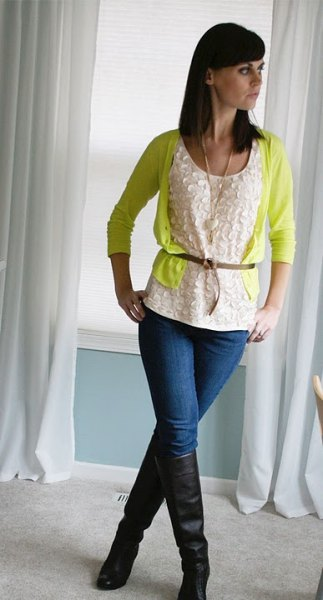 bright yellow card belt cardigan with lace blouse