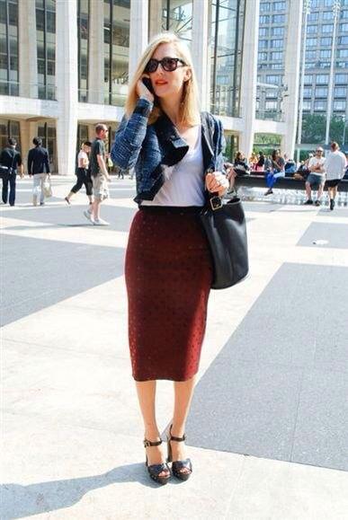 navy short blazer with burgundy midi skirt with high waist