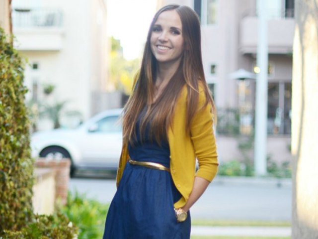 lemon yellow cardigan with navy blue waist belt flared dress