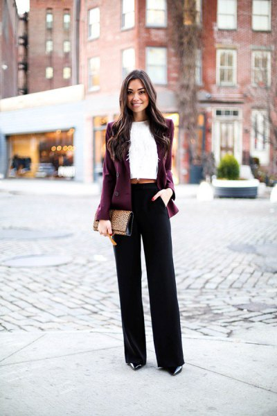 burgundy velvet blazer jacket with white collar without cropped blouse