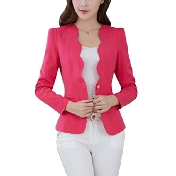 warm pink peeled detailed slim fit blazer with white skinny pants