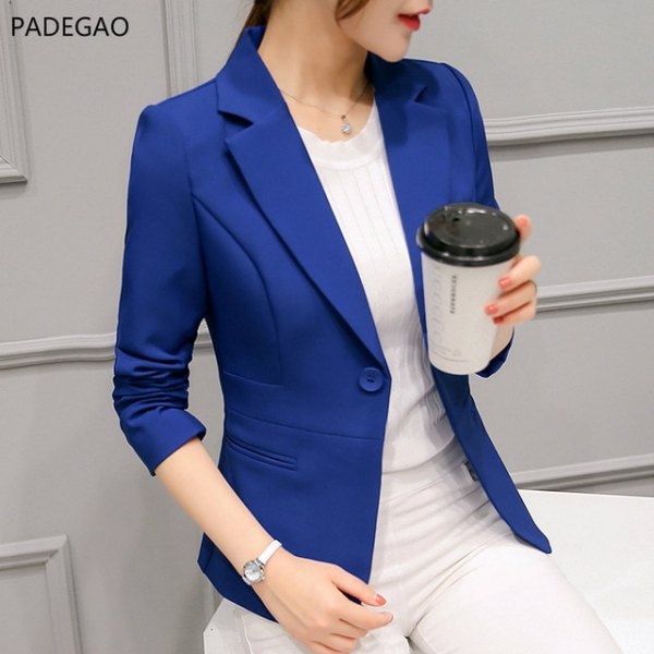 royal blue blazer with white sweater and matching pants