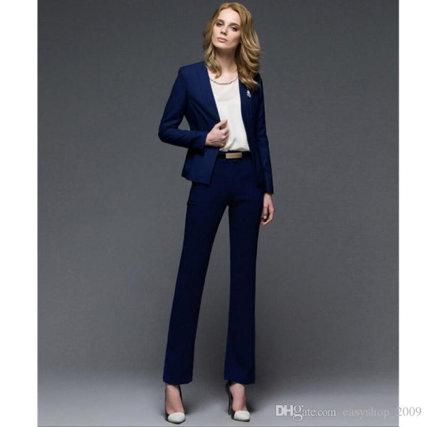 navy slim fit blazer with chiffon top and straight leg trousers