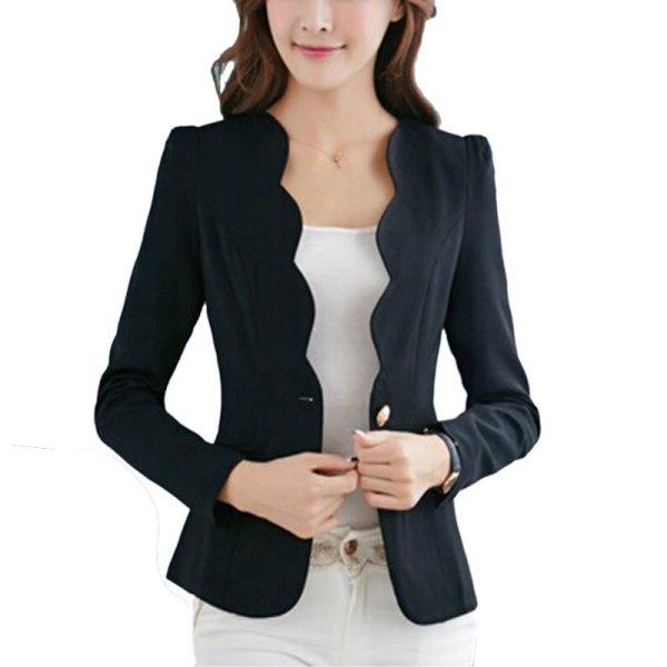 black peeled slim fit blazer with white skinny jeans