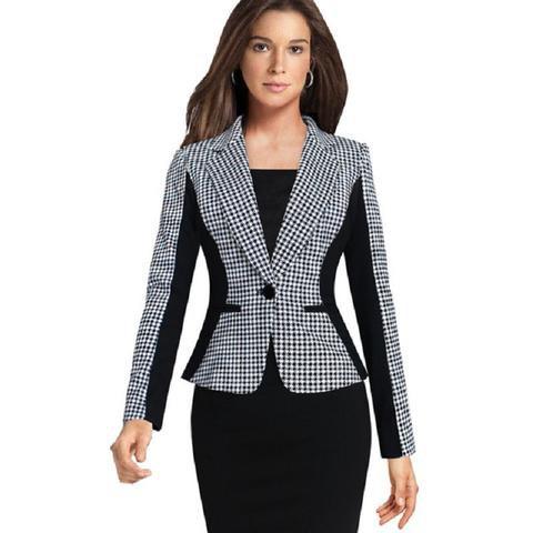 black and white checkered slim fit blazer with bodycon midi dress