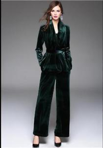 black belt velvet blazer with wide leg trousers