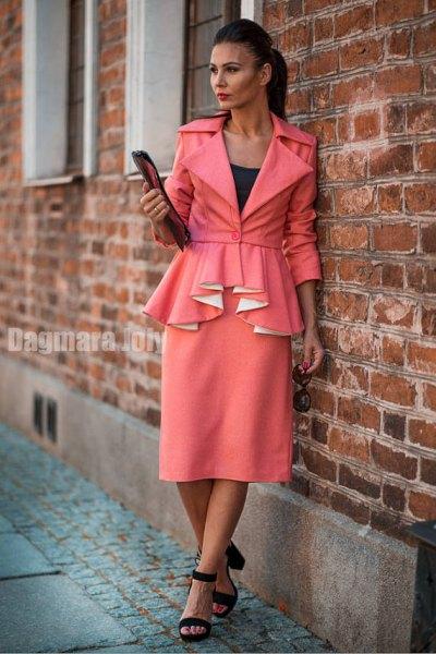 blush pink belt ruffle home blazer with matching midi straight cut skirt