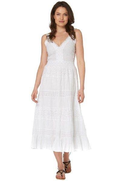 white deep v-neck crocheted midi summer dress