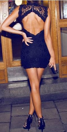 black sleeveless lace with open back mini dress with cut heels