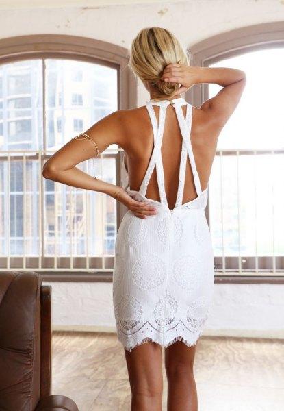 white open back mini straight crochet dress