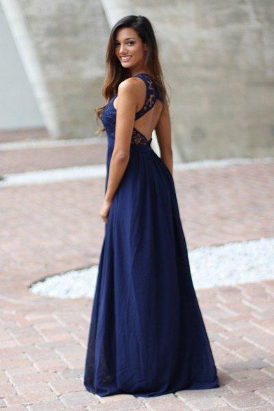 navy open back maxi flowing dress with black ballet heels