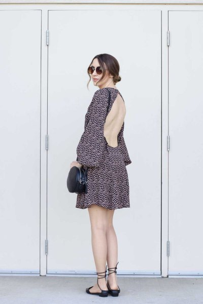 black and white printed backless mini chiffon dress with flat shoes