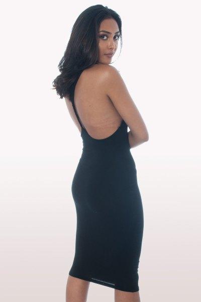 black bodycon midi dress with wide sleeve design