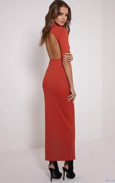 red mock neck open back maxi dress with black ballet heels