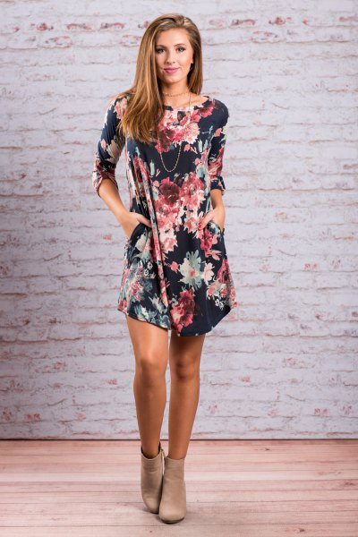 navy floral printed mini dress with light pink ankle boots