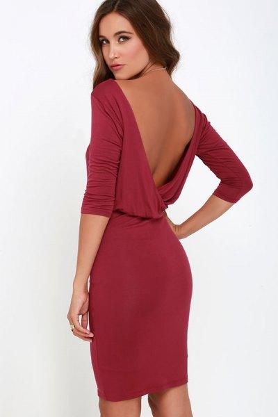 burgundy backless shape-fitted mini-shirt knit shirt