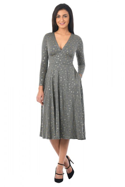 gray printed deep v-neck fit and flare jersey knit dress