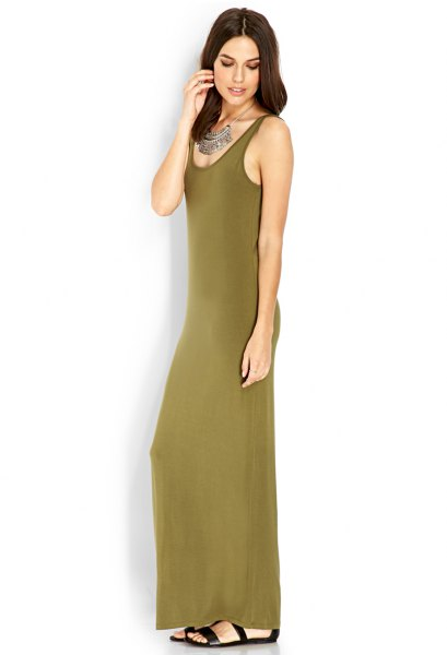 green shoulder-length sleeveless maxi jersey knit dress