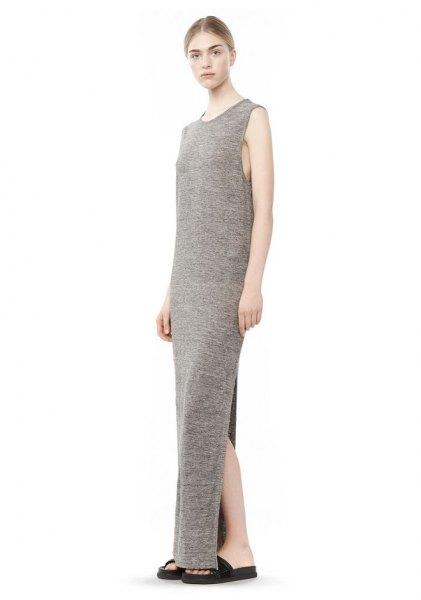 light gray orange sleeveless maxi jersey knit high split dress