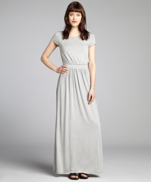 light gray overall waist fit and flare maxi jersey knit dress
