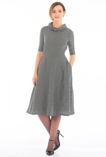 black and white striped half-sleeved fit and flare dress