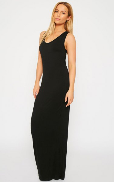 black simple maxi sleeveless maxi dress