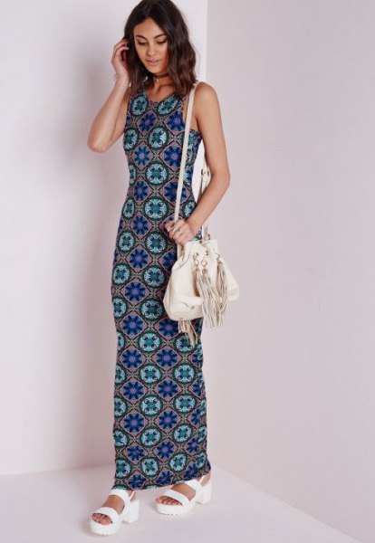 blue and pink tribal printed maxi jersey dress with white sandals